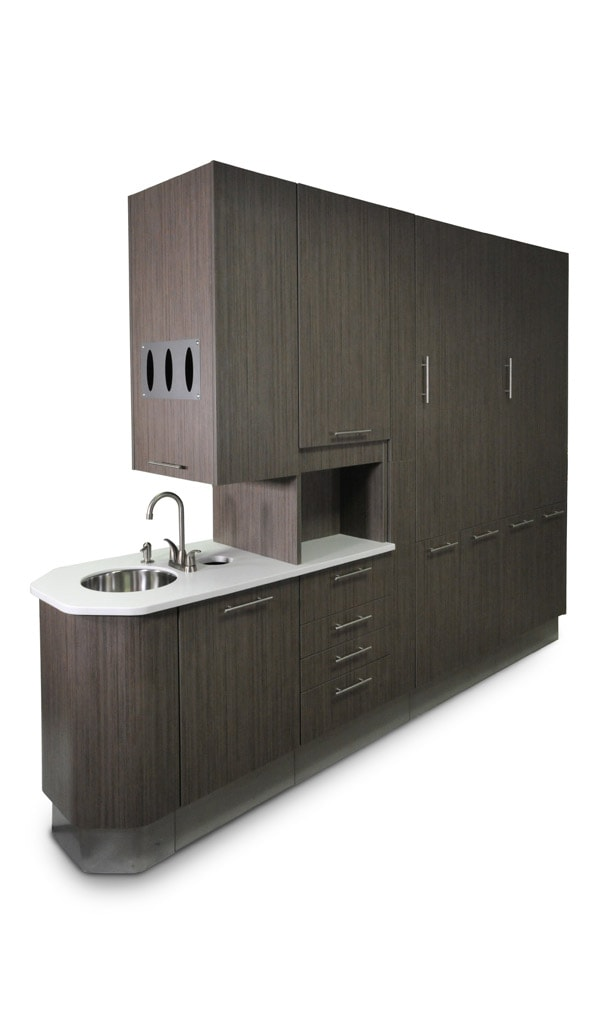 Dental cabinetry and furniture rear treatment console.