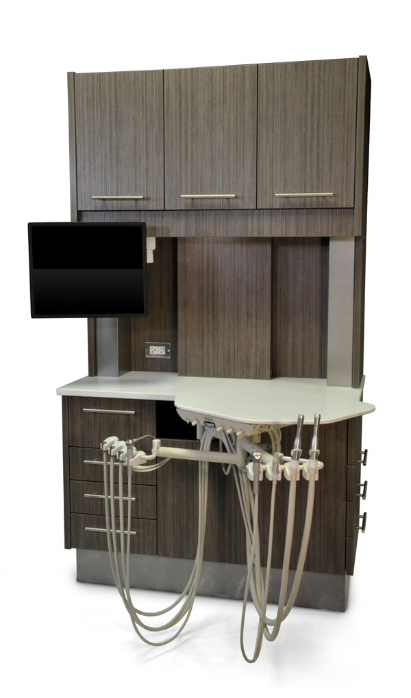 Rear treatment console dental furniture and cabinetry